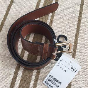 """NWT H&M Women's Brown Belt, large, 45"""", gold bckl"""